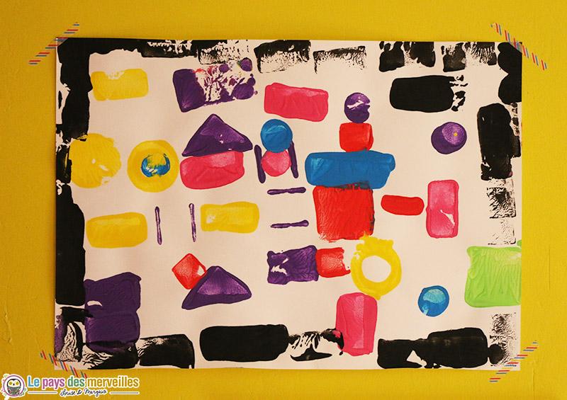 peinture forme cube 5ans