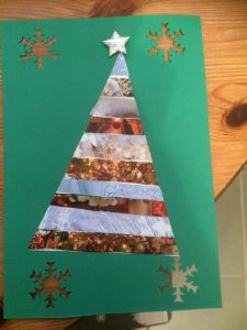 carte voeux sapin collage