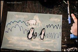 paysage pingouin graphisme