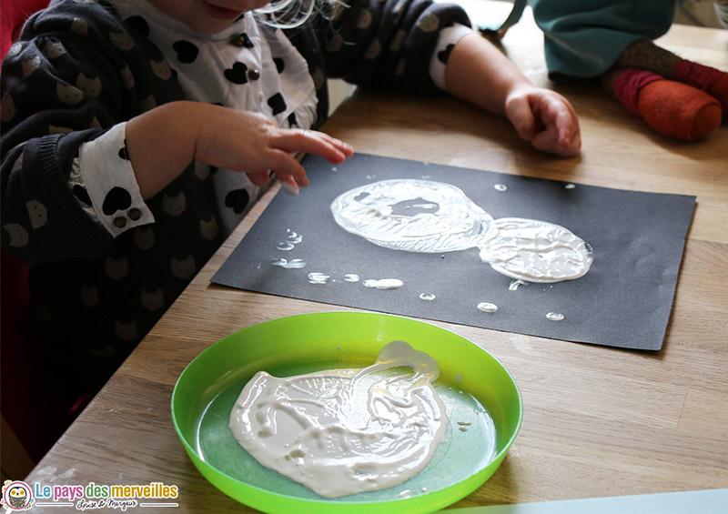 peinture aux doigts neige