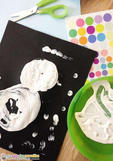 peinture bonhomme de neige maternelle
