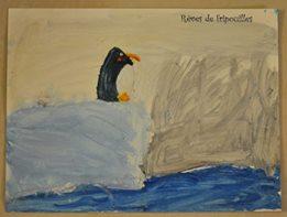 tableau peinture pingouin
