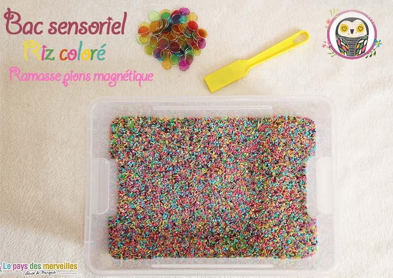 bac sensoriel aimanté avec du riz coloré et des jetons