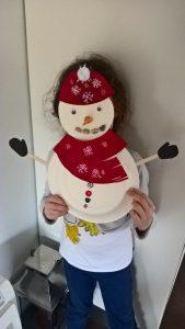 bonhomme de neige assiette carton