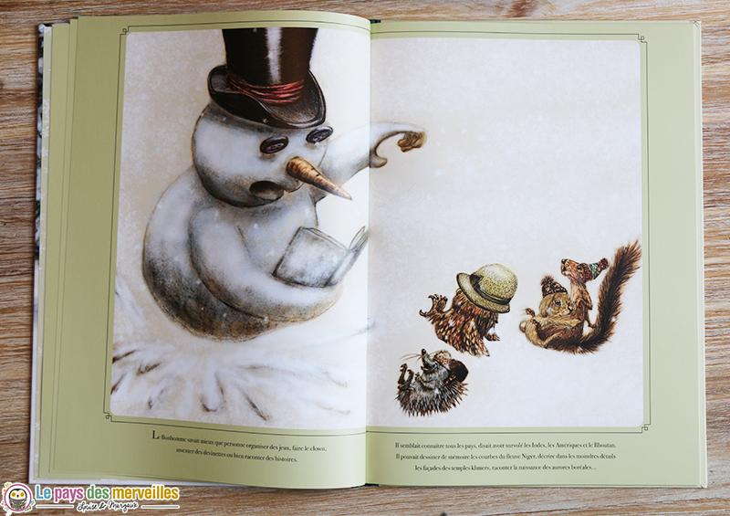 Illustration d'un bonhomme de neige faisant la lecture