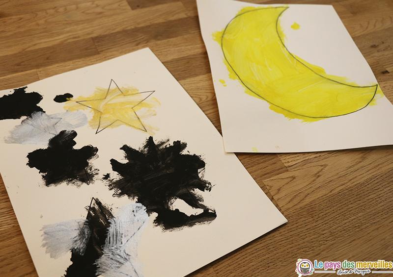 peindre et découper la lune et les étoiles