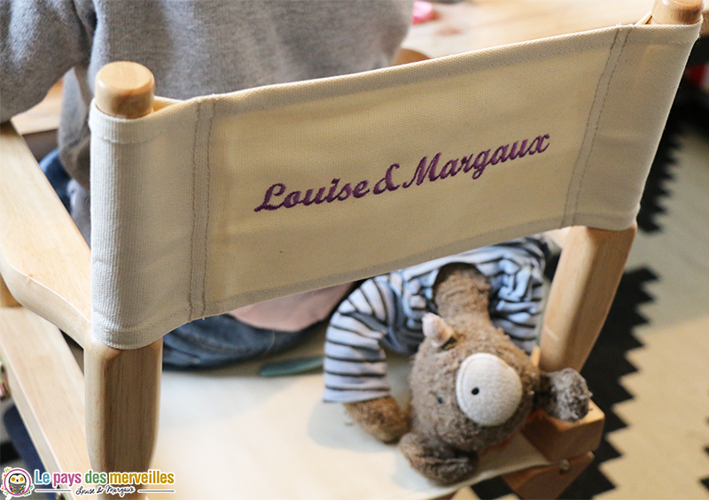 dossier chaise enfant broderie
