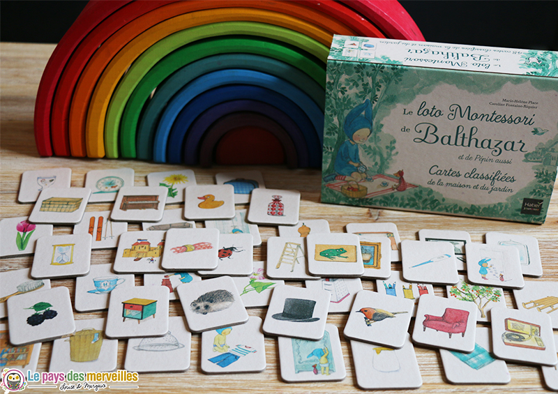 illustrations des 48 cartes du jeu de loto Montessori de Balthazar