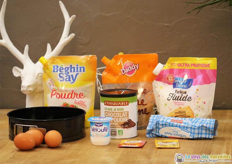 ingrédients pour réaliser un marbré à la vanille et au chocolat