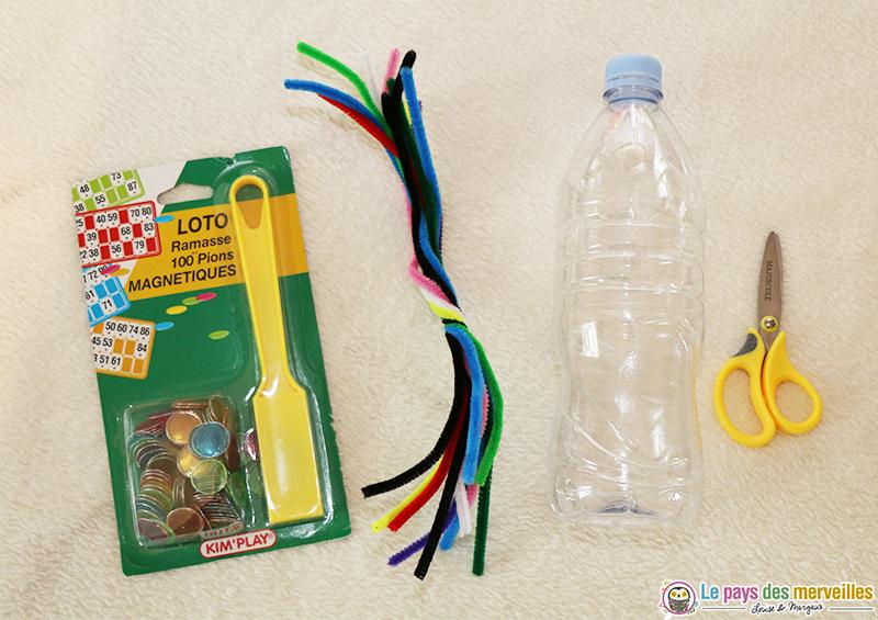 matériel pour réaliser un bac sensoriel et une bouteille sensorielle aimanté