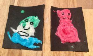 Monstres réalisés avec la technique de la peinture gonflante