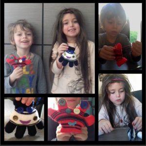 Monstres réalisés avec des gants en laine