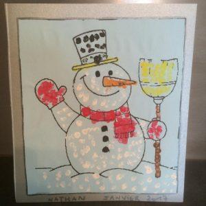 peinture bonhomme de neige coton tige