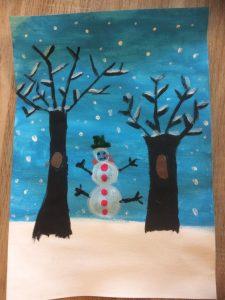 peinture hiver enfant