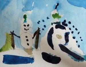 peinture neige nuance bleue