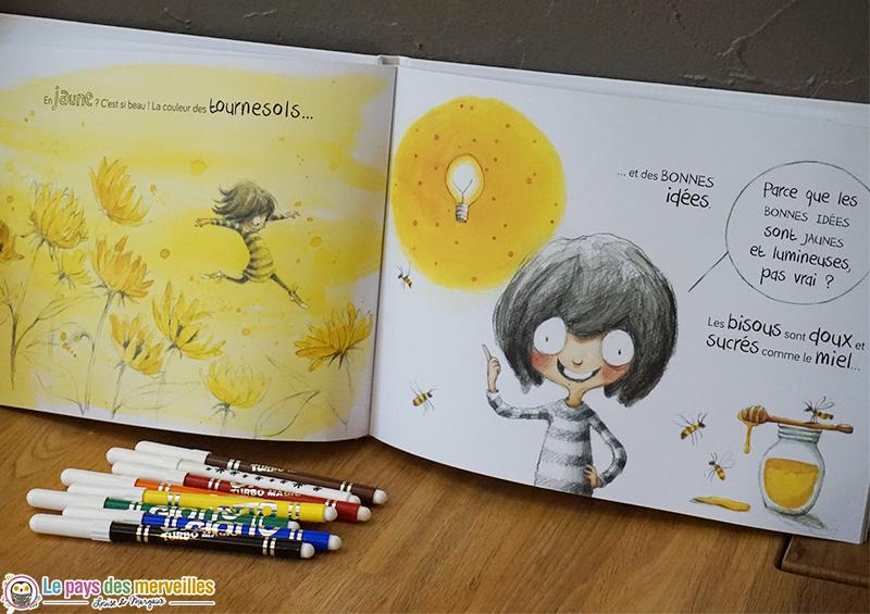 Illustration jaune du livre de quelle couleur sont les bisous ?