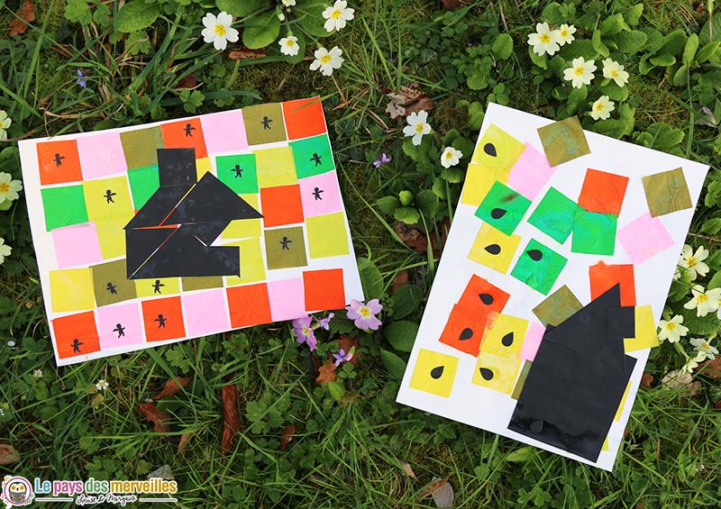 tangram maison noir sur du papier de soie coloré