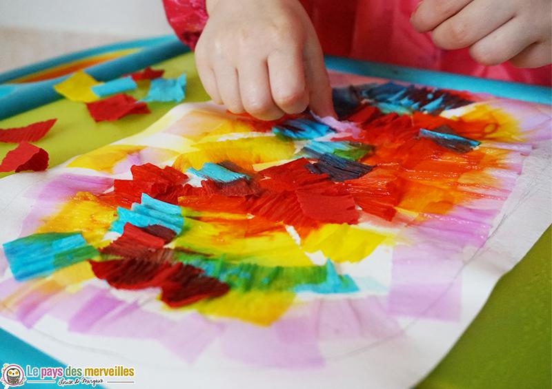 Turbo Peinture au papier crépon et graphisme (Bricolage de Pâques) DR09