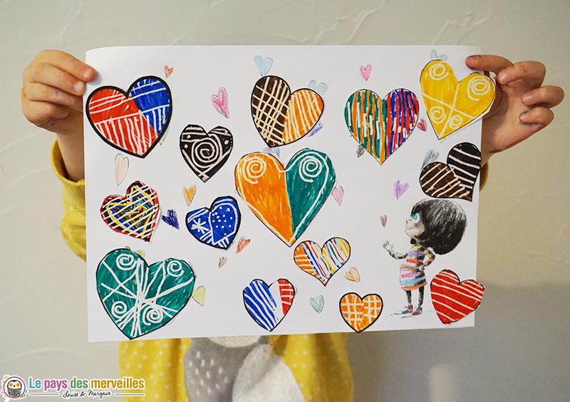Coloriage et graphisme sur des coeurs