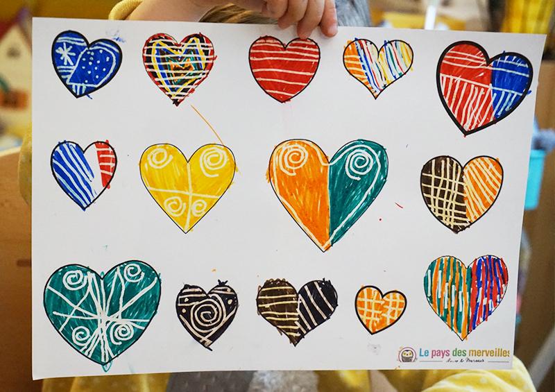 coloriage de coeurs et graphisme
