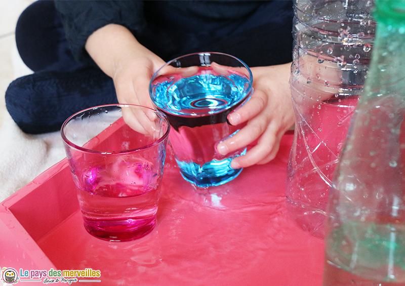 transvasement d'eau dans des verres