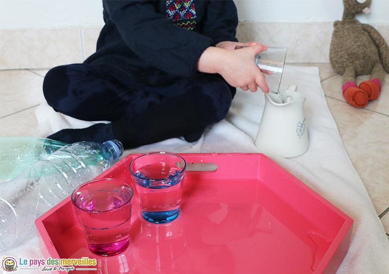 Transvaser de l'eau avec un verre