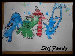 Des monstres rigolos en peinture soufflée à la paille