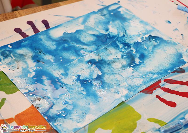 peinture soufflée à la paille enfant 5ans