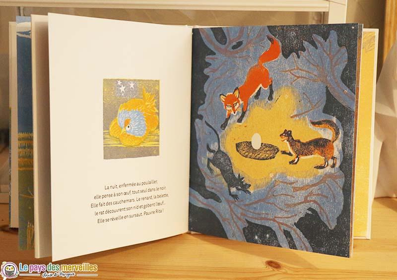 illustrations en gravure sur bois rita la poule
