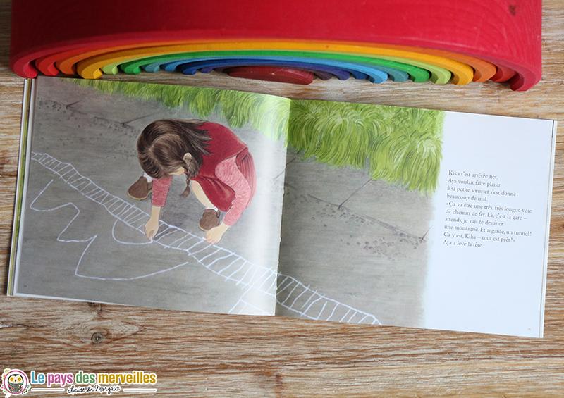 Illustration aya dessine sur le sol avec une craie