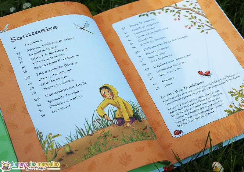 Sommaire du livre activités de plein air aux éditions Usborne