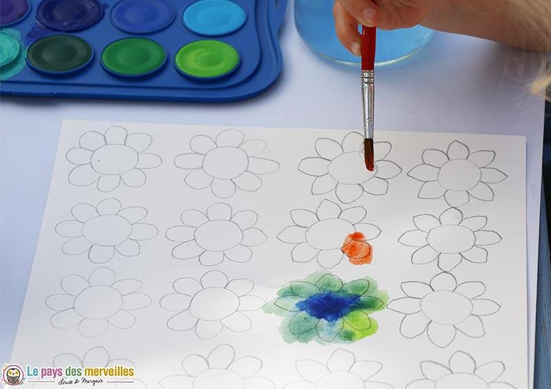 peinture aquarelle sur du papier blanc Canson