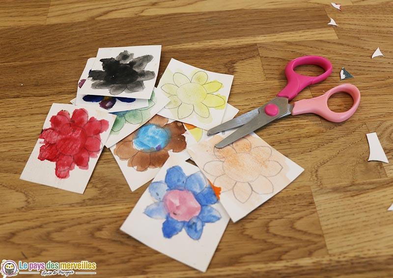 découpage de fleurs peintes à l'aquarelle