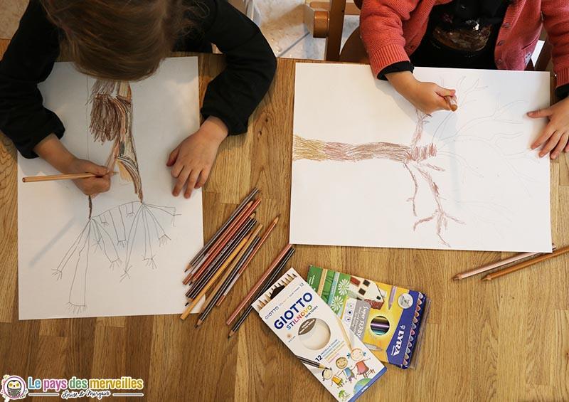 dessin et coloriage arbre maternelle