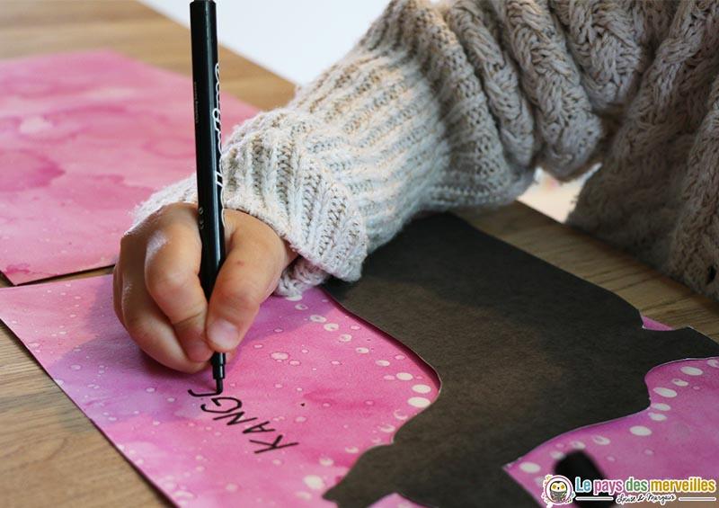 écriture enfant de grande section maternelle