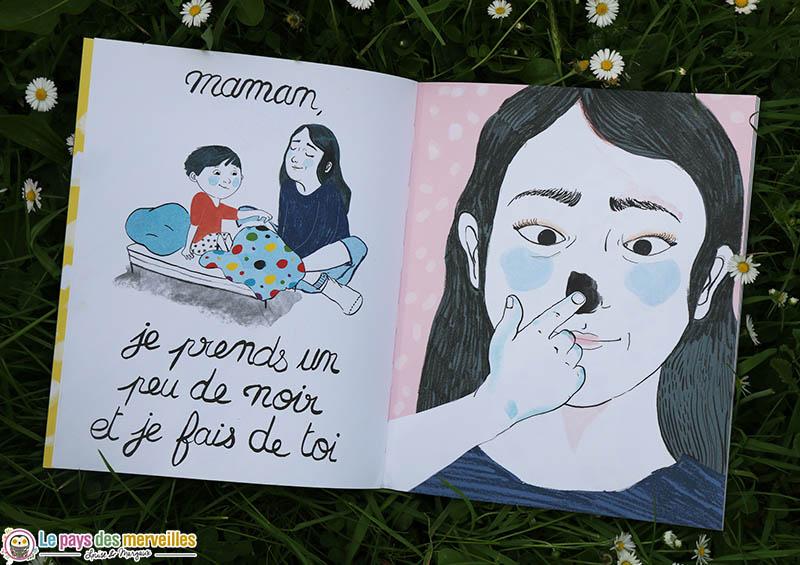 Illustration d'un enfant qui peint sa maman