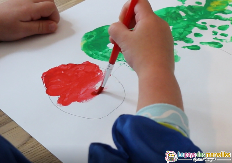 peinture d'un cercle en rouge