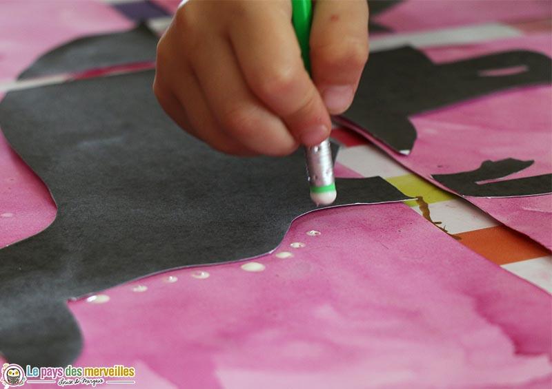 peindre avec la gomme d'un crayon à papier