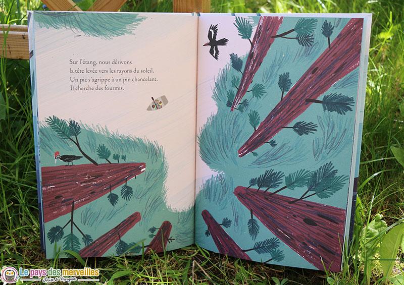 illustration d'un étang vu depuis le haut des arbres