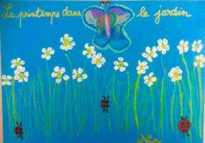 dessin du printemps avec des pastels à l'huile