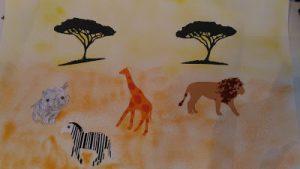 tableau du safari avec des feutres à souffler
