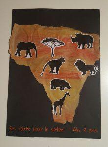 carte de l'Afrique découpée dans du papier kraft