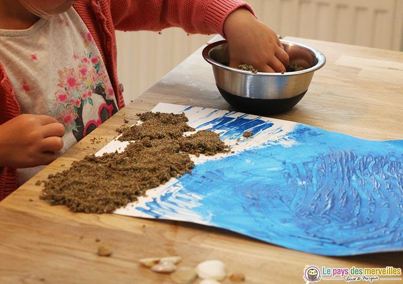 Coller du sable
