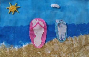 Peinture sur le thème Les pieds dans l'eau