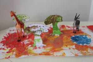 decor animaux de la savane réalisé en peinture