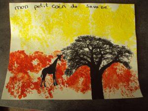 Activité sur le thème de la savane peinture au papier bulles