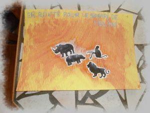 bricolage d'un tableau safari sur du carton ondulé