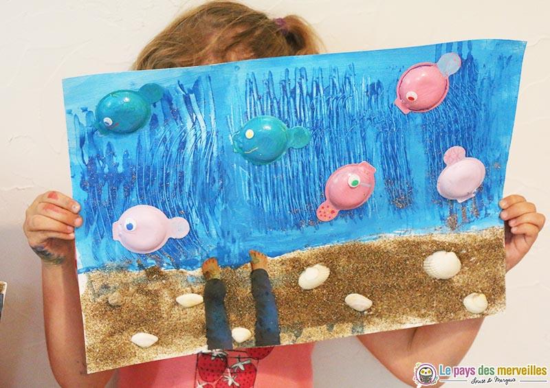 """Fabuleux Peinture estivale sur le thème """"Les pieds dans l'eau"""" NF21"""