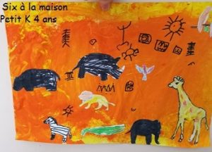 tableau de la savane en coloriage et peinture