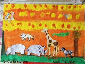 bricolage sur le thème du safari avec de la peinture et du coloriage